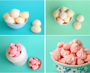 White and pink meringue set