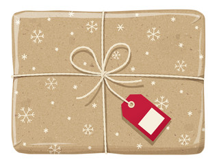 Parcel wrapped up with a snowflake paper, tied up  with twine