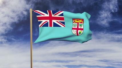 Fiji  flag waving in the wind. Green screen, alpha matte