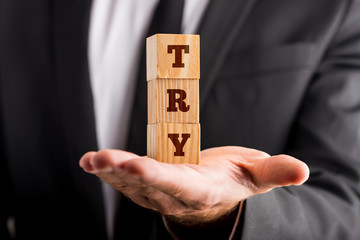 Wooden Blocks with TRY Word on Businessman Palm
