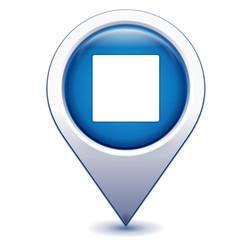 carré blanc sur marqueur géolocalisation bleu