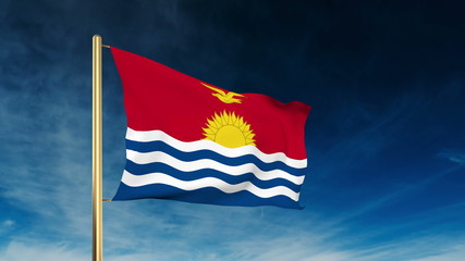 Kiribati flag slider style. Waving in the win with cloud