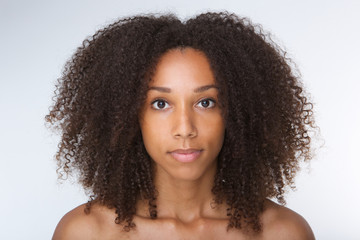 Beautiful african american young woman with curly hair