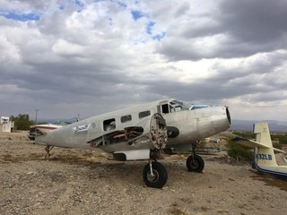 Old playing at Needles airport