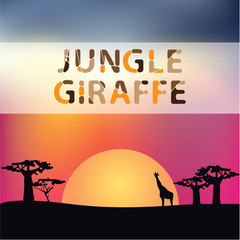 Jungle sunset with tree and giraffe silhouette