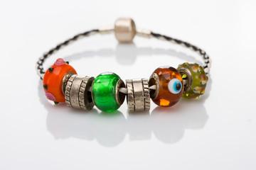 multicolored beads bracelet isolated