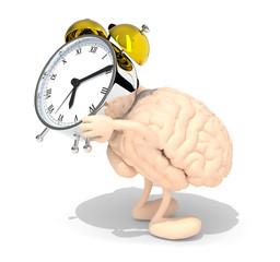 brain with arms, legs that brings alarm clock