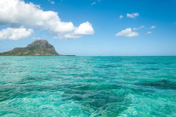 Turquoise water lagoon in paradise island