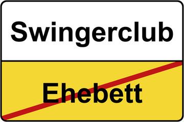 Ehebett Swingerclub Schild