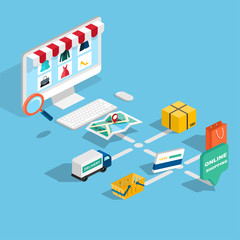 Flat 3d web isometric e-commerce, electronic business, online sh
