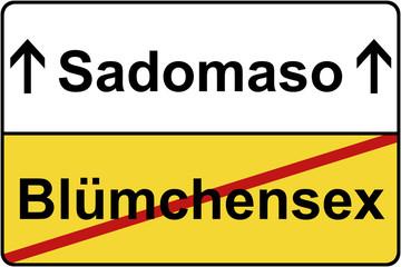 Blümchensex Sadomaso Schild