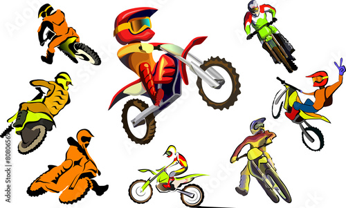 Off road Motorcycle, vector set