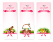 Happy Easter banners. Colorful Easter eggs and green grass. Vect