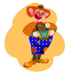 happy clown playing the accordion