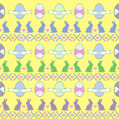 Seamless Easter pattern, card. Vector background with Bunny