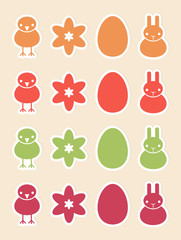 Stickers with Easter symbols