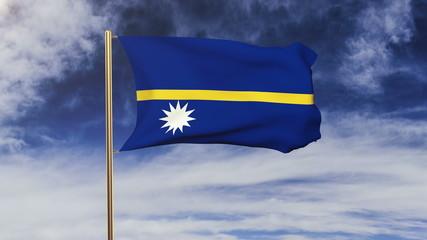 Nauru flag waving in the wind. Green screen, alpha matte