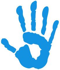 Handabdruck Hand blau