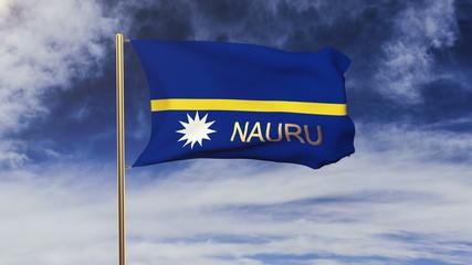 Nauru flag with title waving in the wind. Looping sun rises