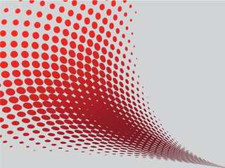 Abstract red wave with halftone