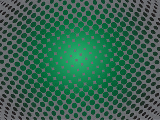 Abstract green fisheye background with squares