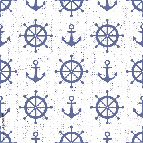 Cute nautical background. Navy vector seamless pattern - 80809151