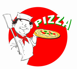 chef with pizza, clipart for pizzeria