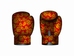 boxing gloves Russia traditional style. Vector illustration Eps
