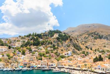 The capital of the island of Symi - Ano Symi. Greece