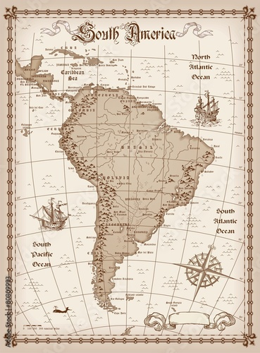 Poszter South America Map Vector