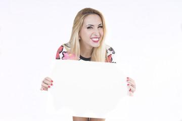 representación corporativa,chica con cartel y fondo blanco y