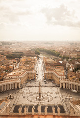 Panorama of Saint Peters Square in Rome from above