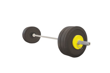 Black barbell isolated on a white background.