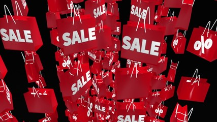 Red shopping bags with sale and percent inscription on black