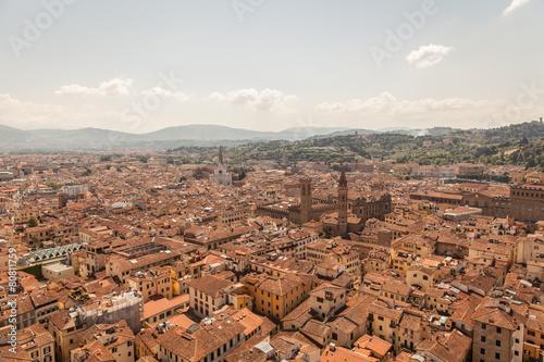 Fototapeta Aerial panorama of Florence Duomo dome and rooftops. Tuscany Ita