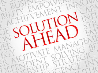 Solution ahead word cloud, business concept