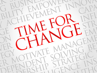 Time for change word cloud, business concept