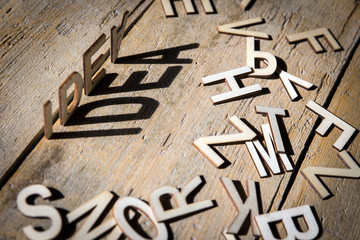 Wooden letters build the word idea