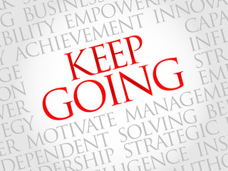 Keep going word cloud, business concept
