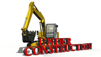under construction sign and excavator on white background