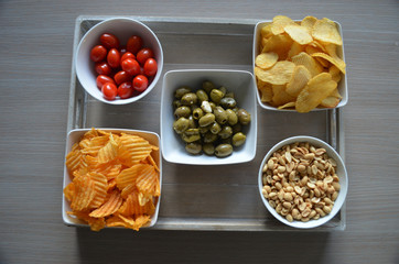 tv snacks in bowls