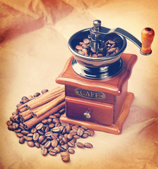 Coffee in a coffee grinder. Vintage retro hipster style version