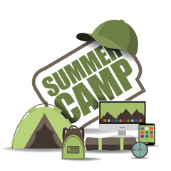 Summer camp icon EPS 10 vector