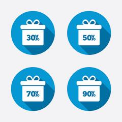 Sale gift box tag icons. Discount symbols.