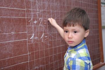 Boy near the blackboard
