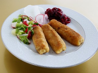 cheese and mushrooms croquettes as vegetarian meal