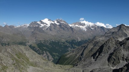 Saas Fee valley and high mountains