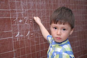 Schoolchild near blackboard