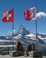 Flags of Switzerland and Wallis Canton, Matterhorn