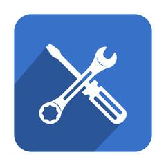 Icono cuadrado azul herramientas con sombra